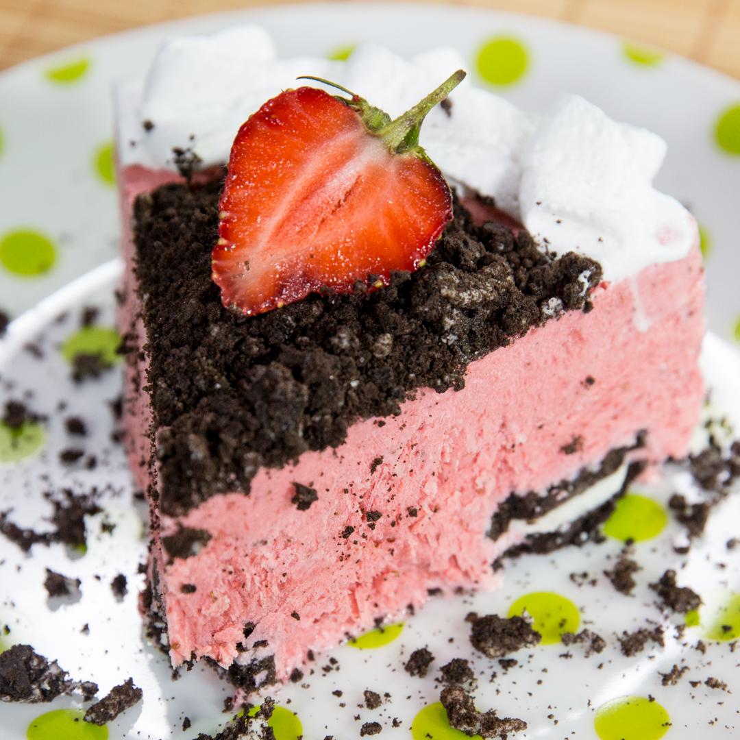 Oreo and Strawberry Ice Cream Cake