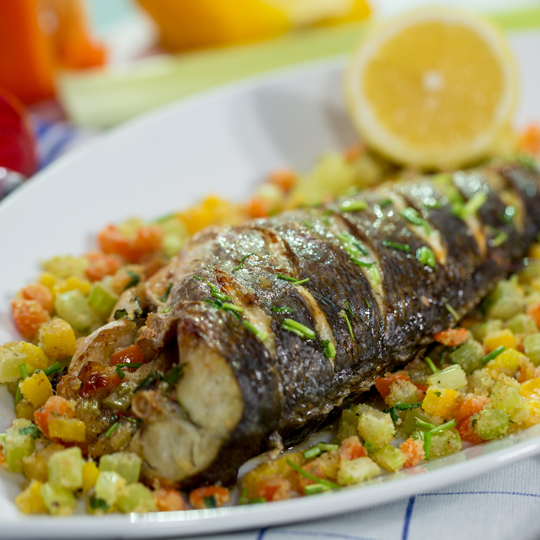Bell Pepper Stuffed Sea Bass