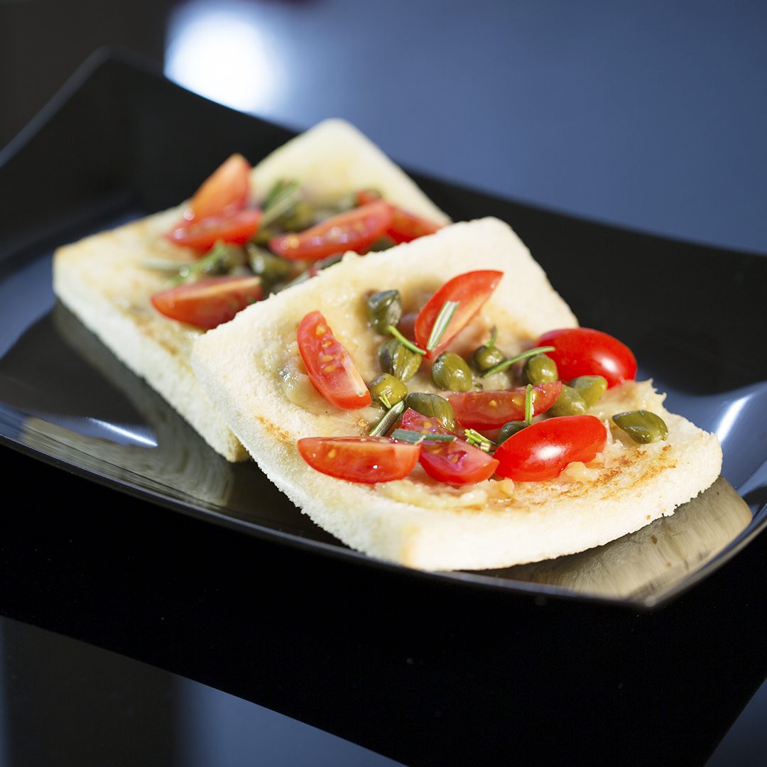 Roasted Garlic Toast with Capers and Cherry Tomatoes