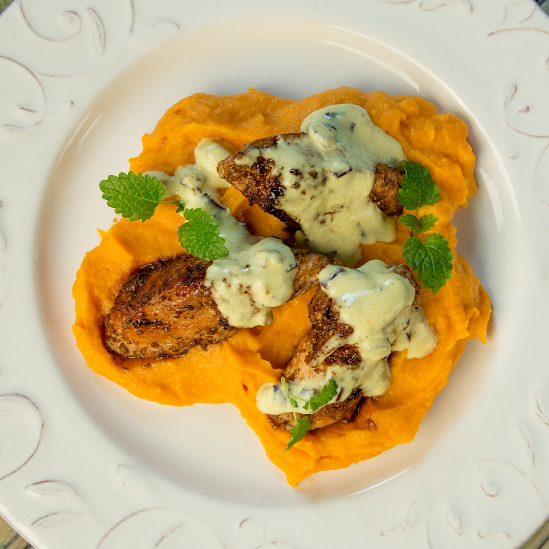 Spiced Chicken with Sweet Potato Mash