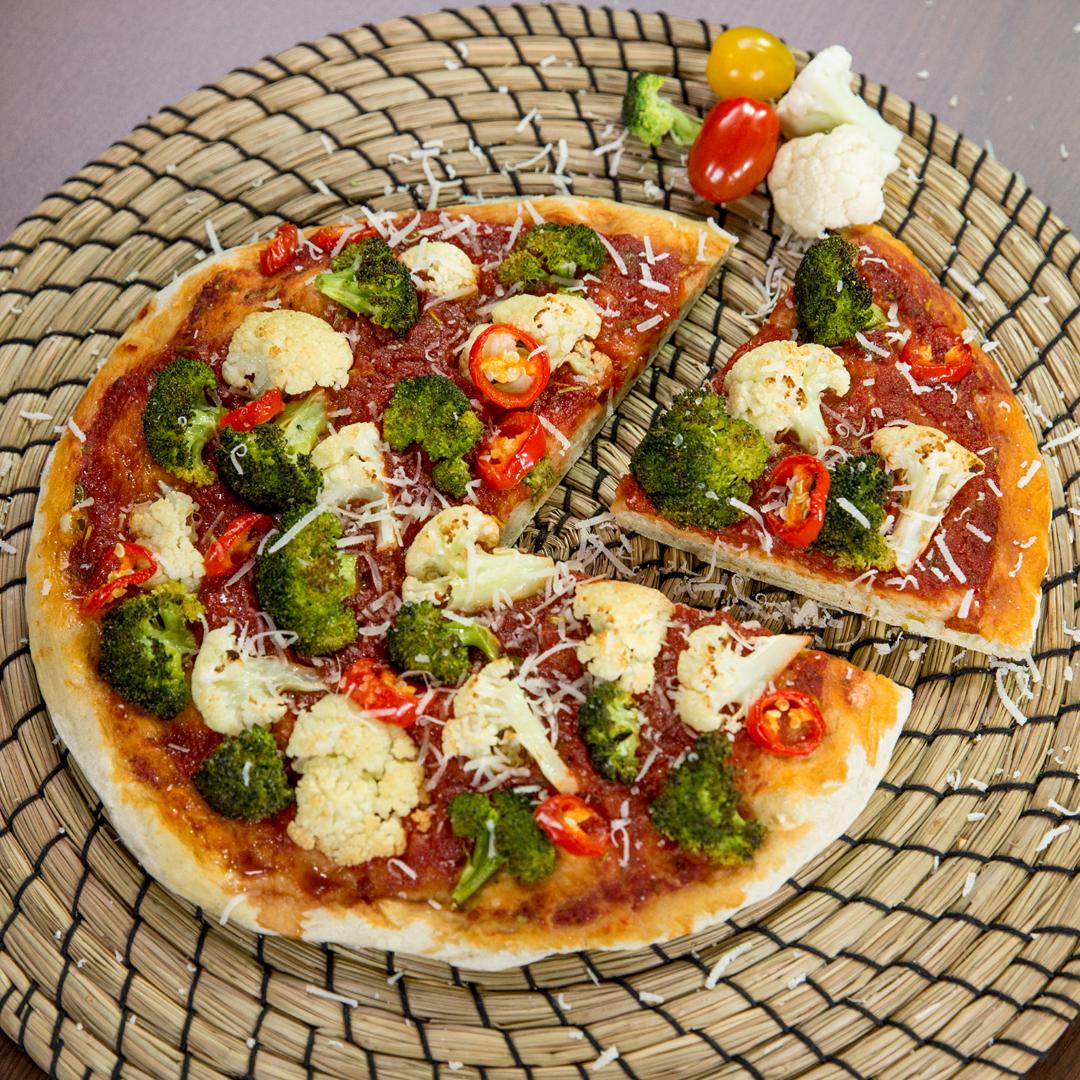 Broccoli and Cauliflower Pizza