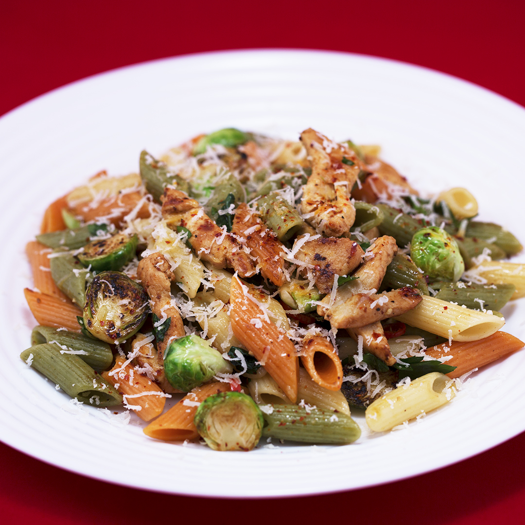 Chicken and Brussels Sprouts Tricolor Penne