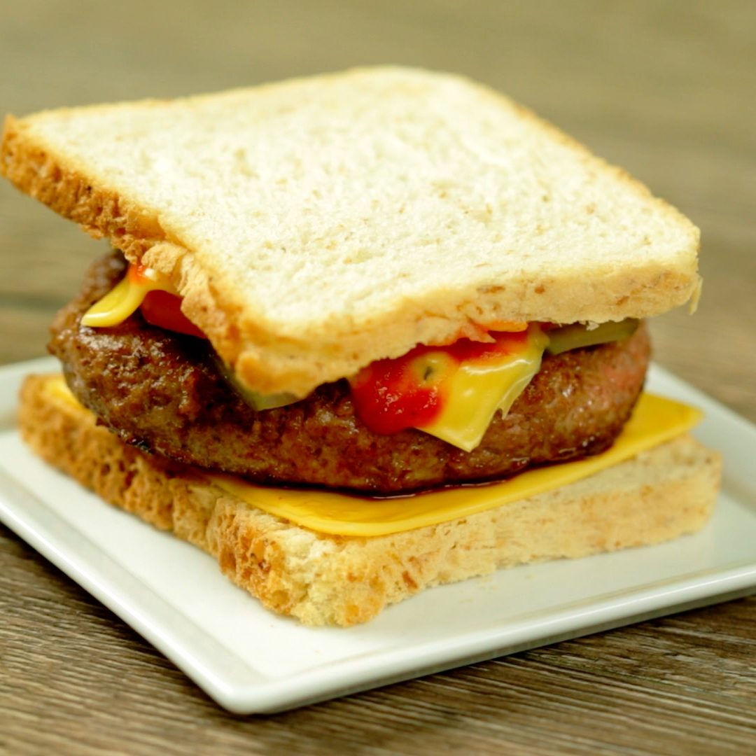 Fried Burger Patty and Cheese Sandwich