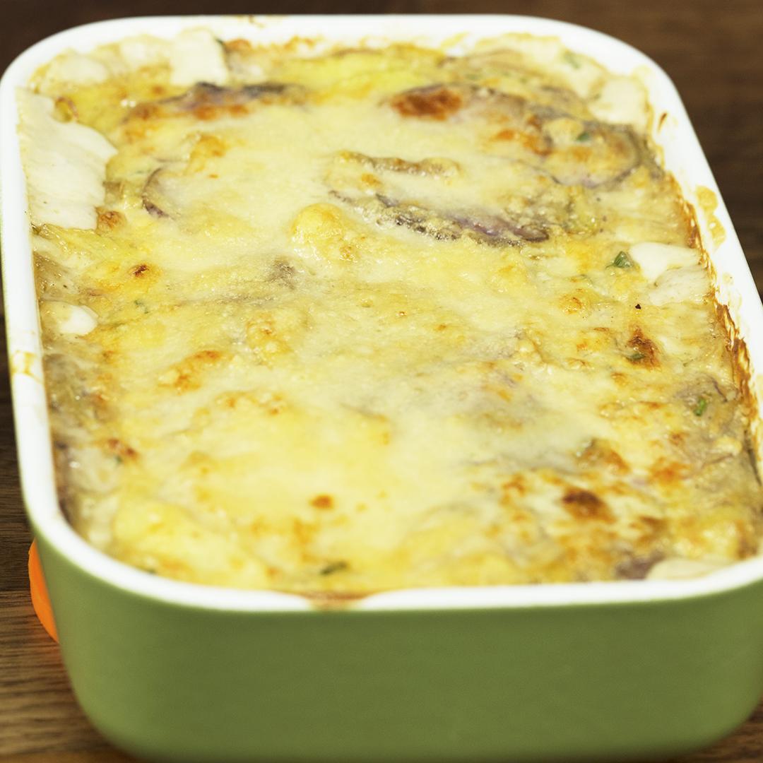 Purple and White Potato Cheesy Casserole