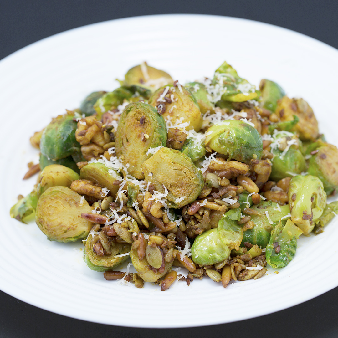 Sauteed Brussels Sprouts with Toasted Nuts