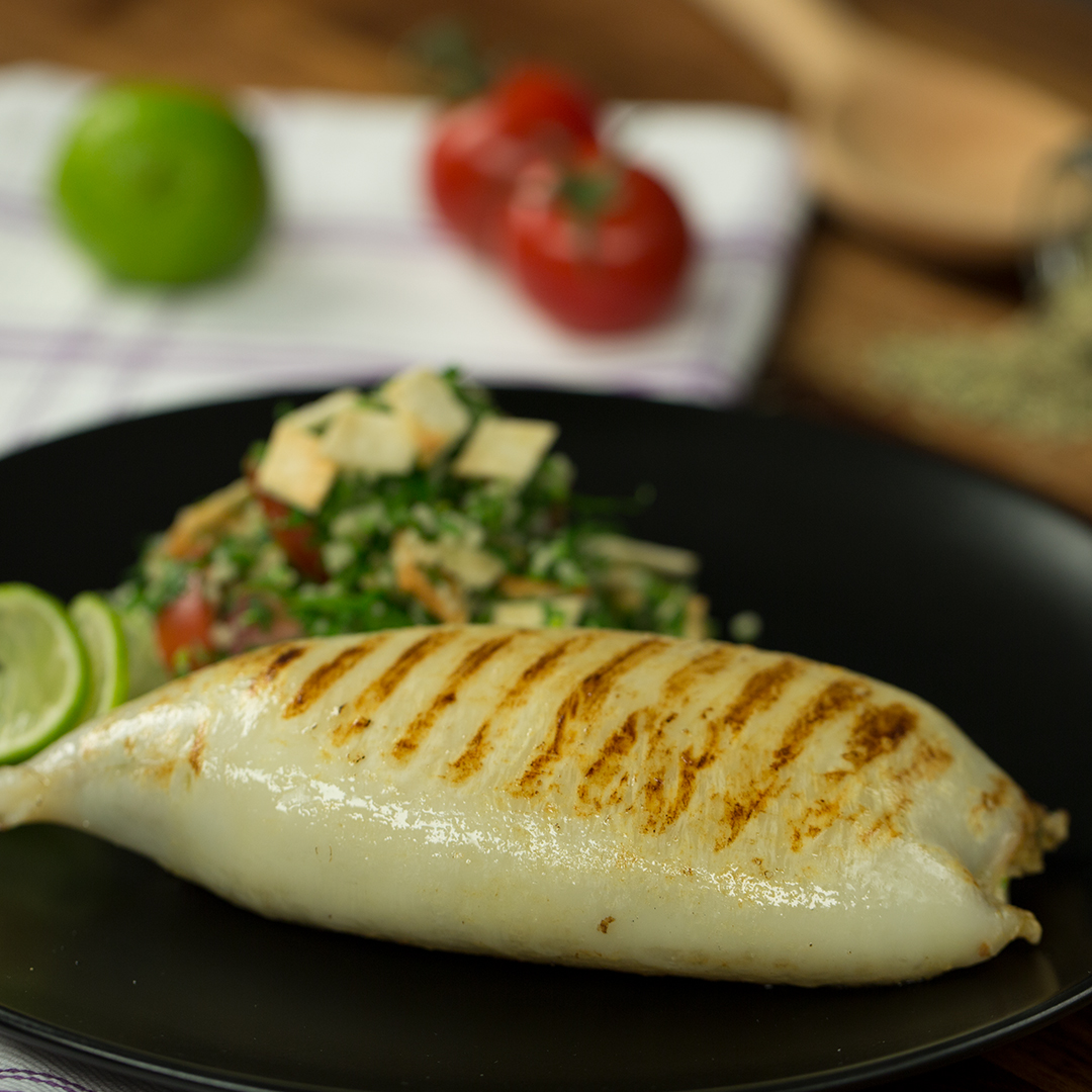 Grilled Stuffed Squid with Tabbouleh Salad