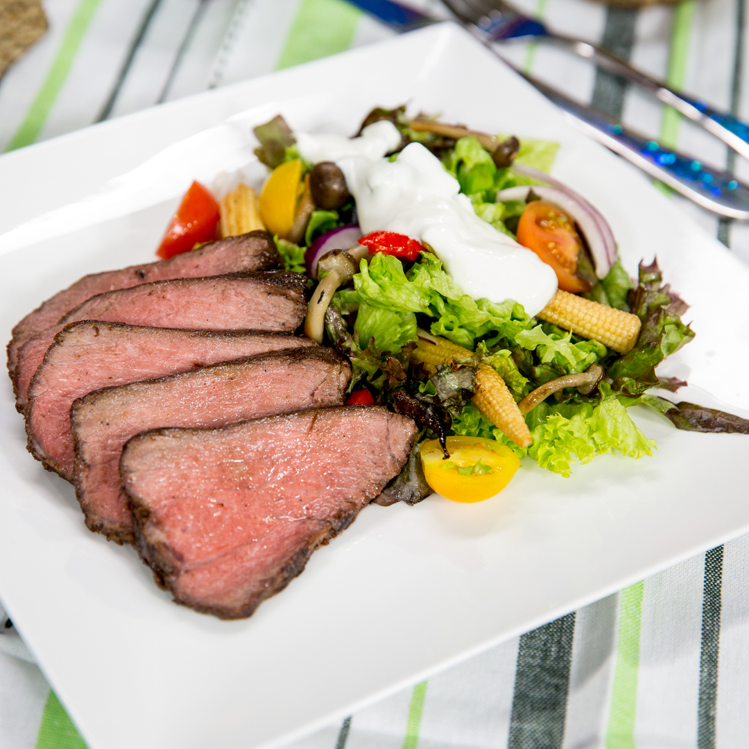 Coffee-Crusted Beef Steak with Warm Salad