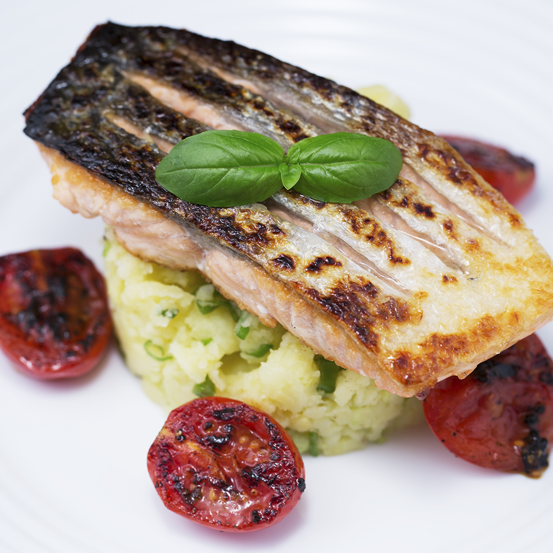 Pan Fried Salmon with Spring Onion Potato Mash