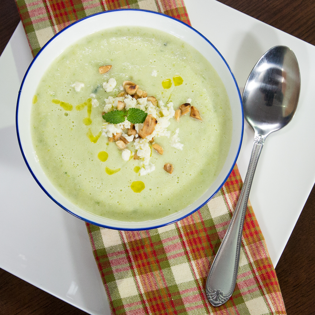 Creamy Zucchini Soup with Toasted Peanuts