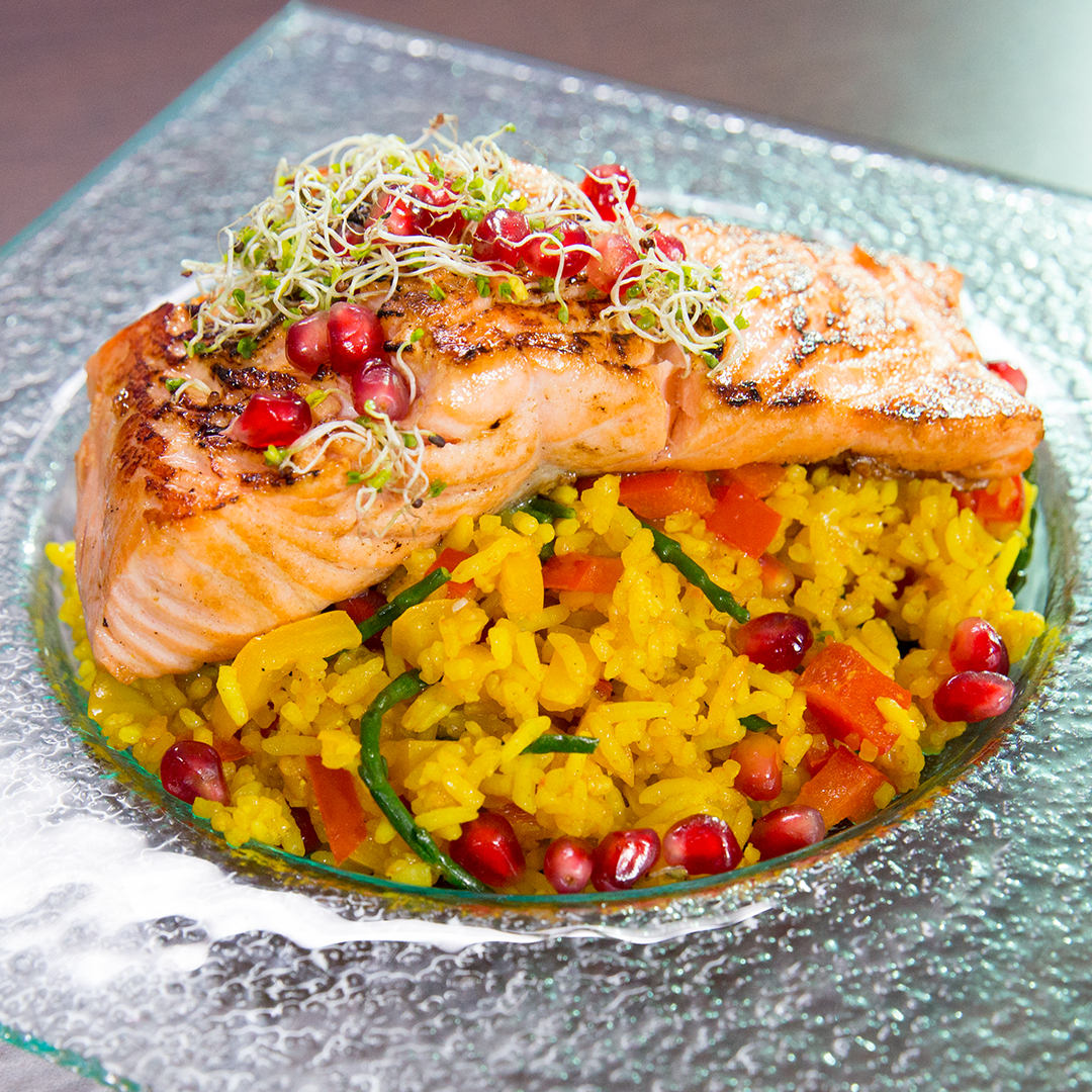 Pan-Fried Salmon with Flavored Rice