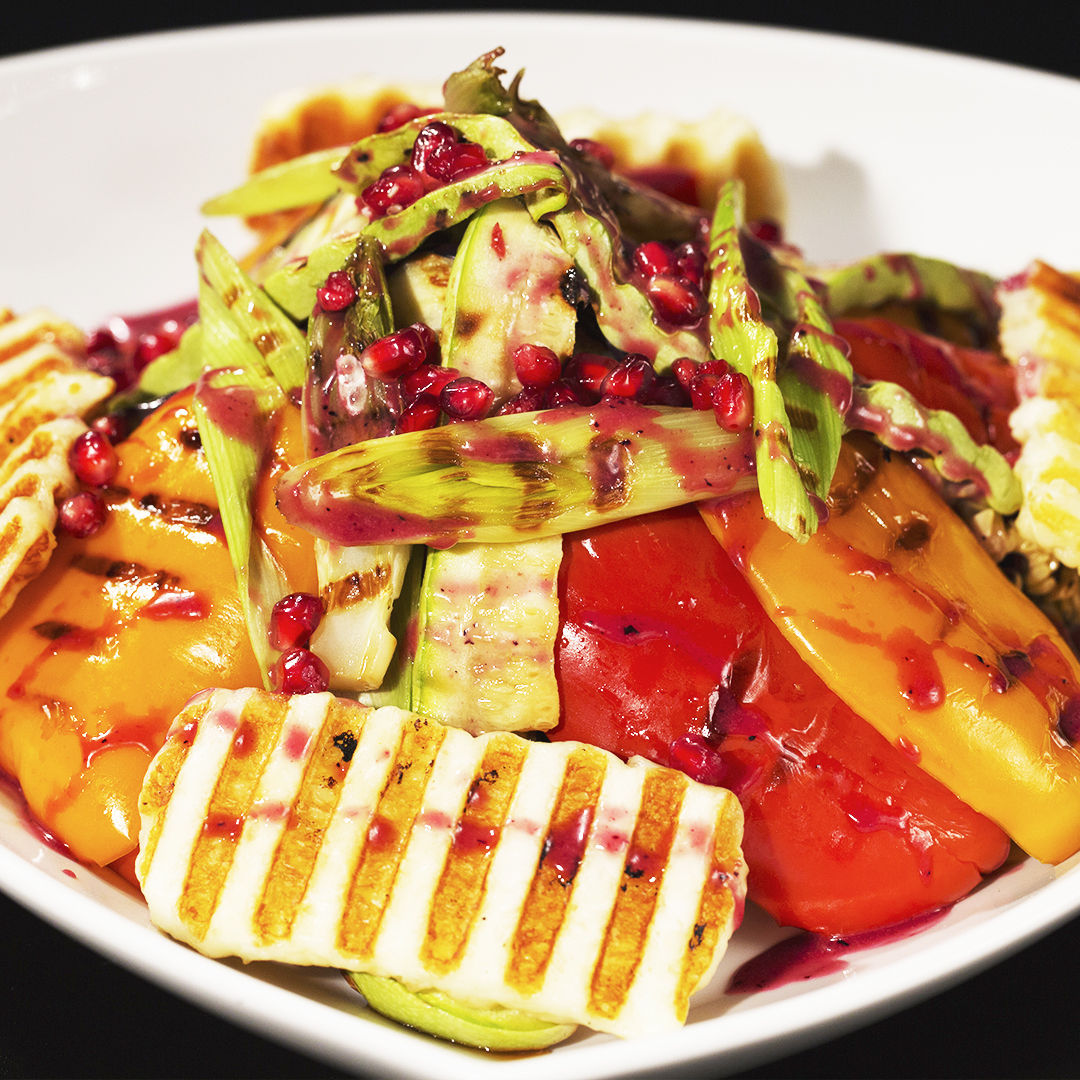Grilled Halloumi Cheese and Veggie Warm Salad