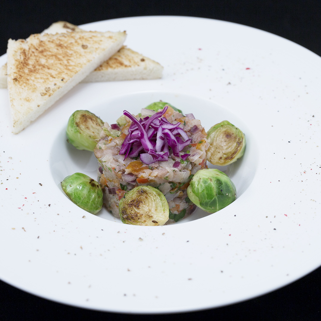 Smoked Mackerel Salad with Sauteed Brussels Sprouts