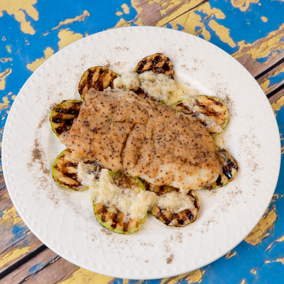 Dijon-Crusted Halibut and Grilled Zucchini