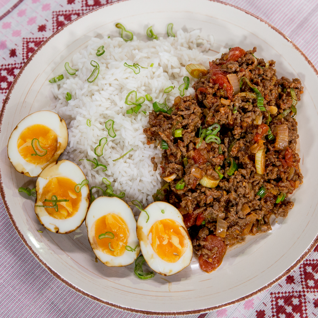 Ground Beef with Rice and Egg