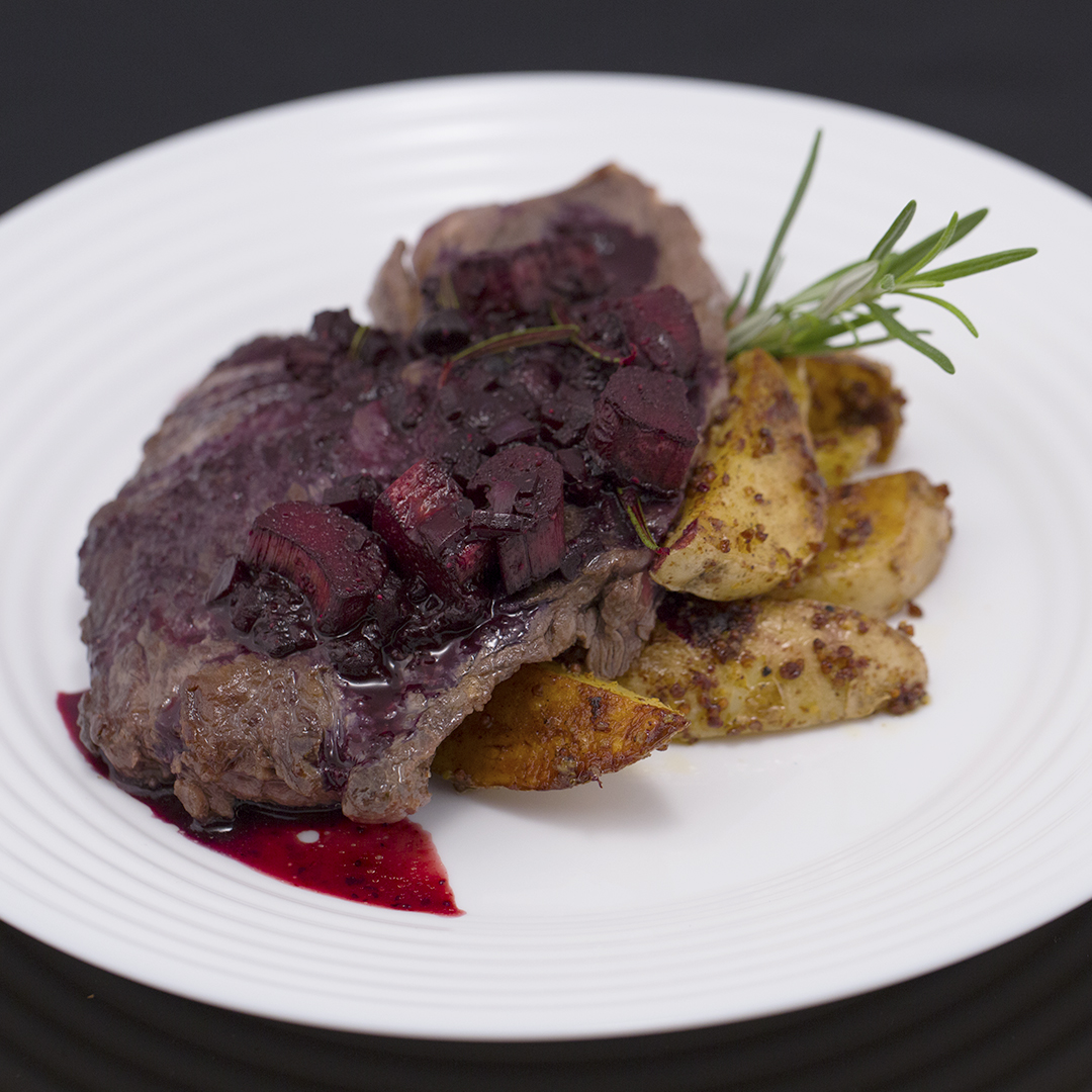 Beef Steak with Cranberry and Rhubarb Sauce