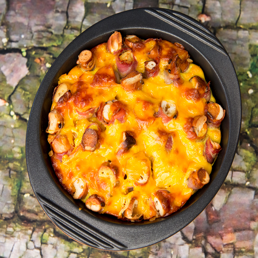Savory Pretzel Bread Pudding with Bacon and Cheddar