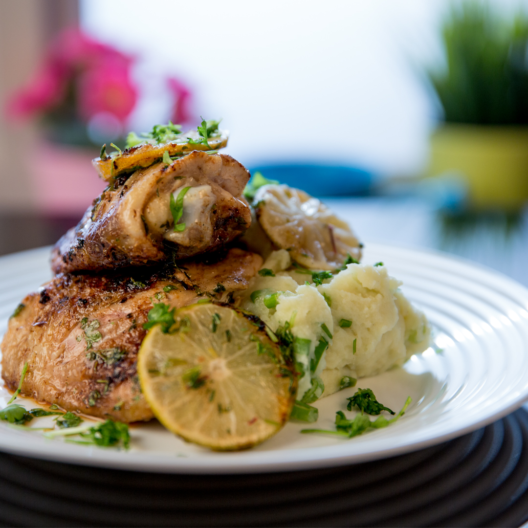 Chicken Thighs and Parmesan Potato Mash