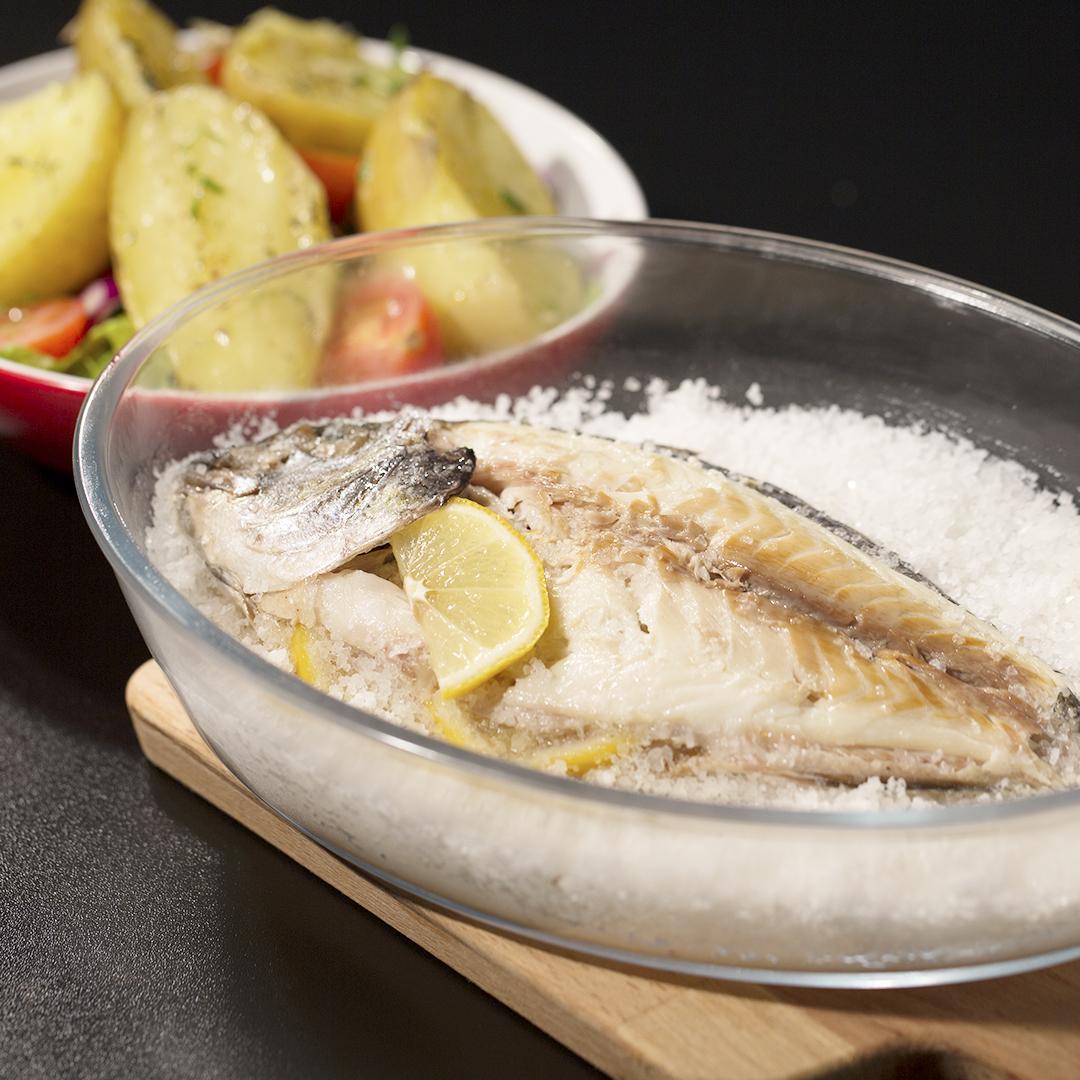Salt-Crusted Sea Bream with Potato Side