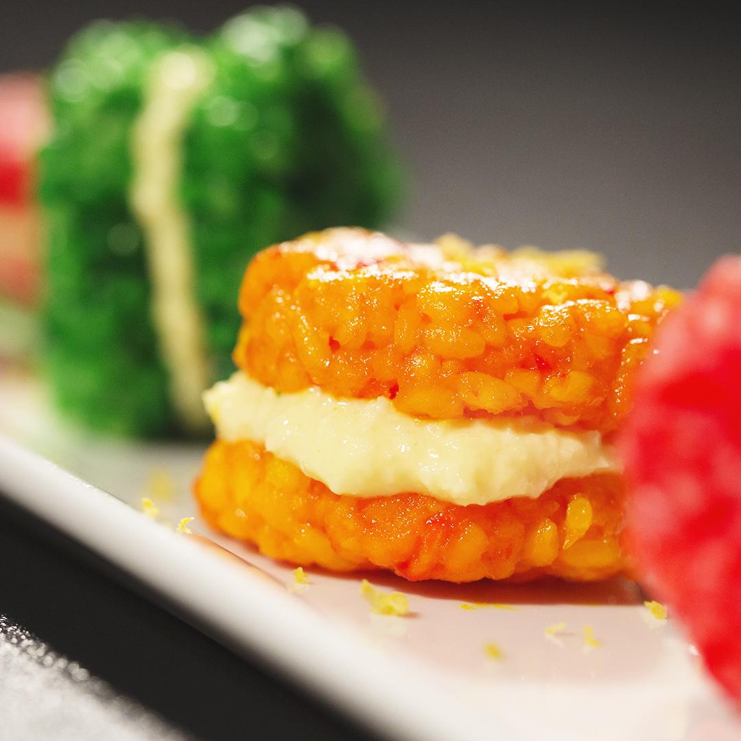 Sushi Rice and Mango Macarons