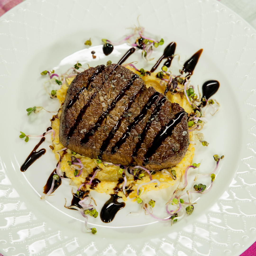 Beef Tenderloin with Carrot and Celery Mash