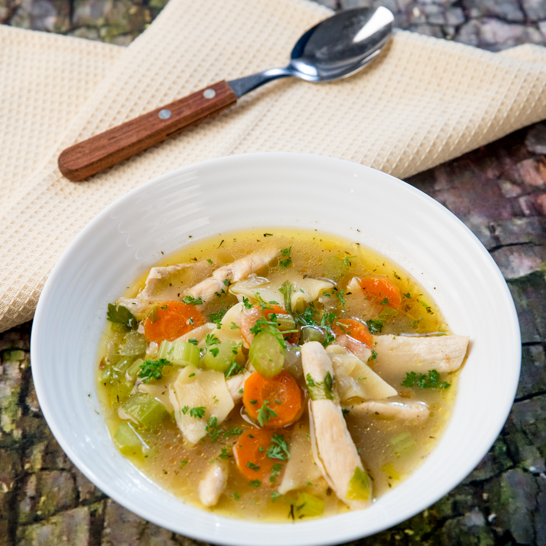 Chicken, Pasta and Celery Soup
