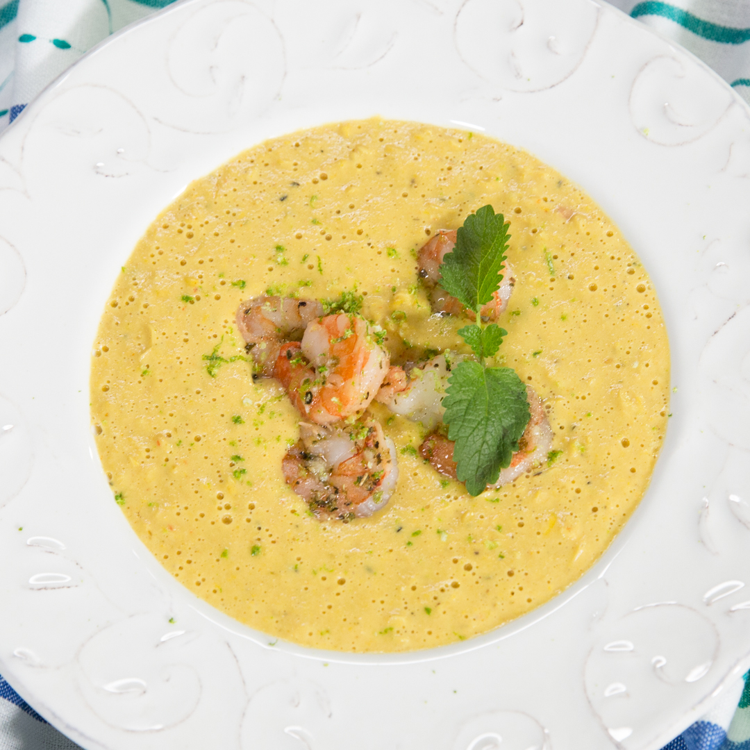 Creamy Sweet Corn Soup with Shrimp