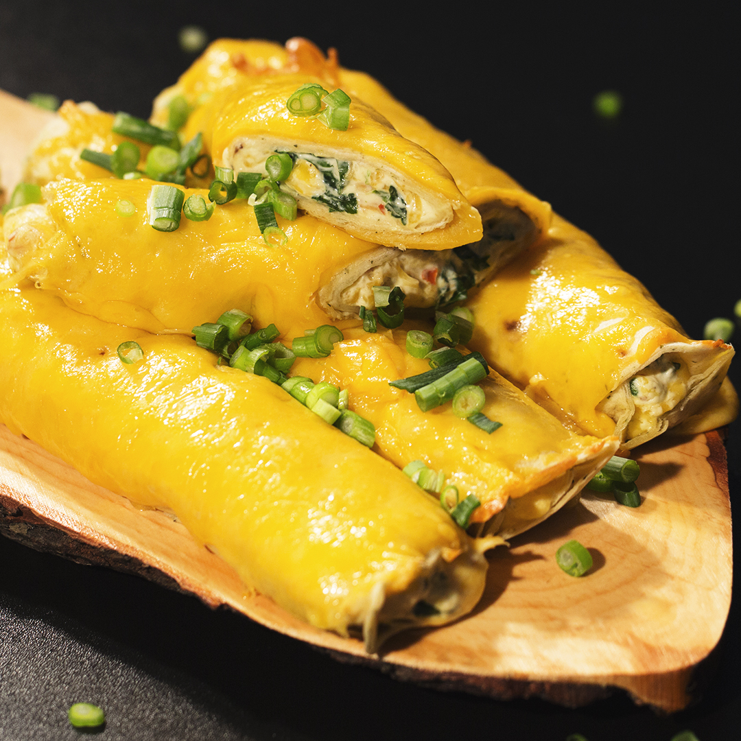 Chicken and Spinach Cheesy Tortillas