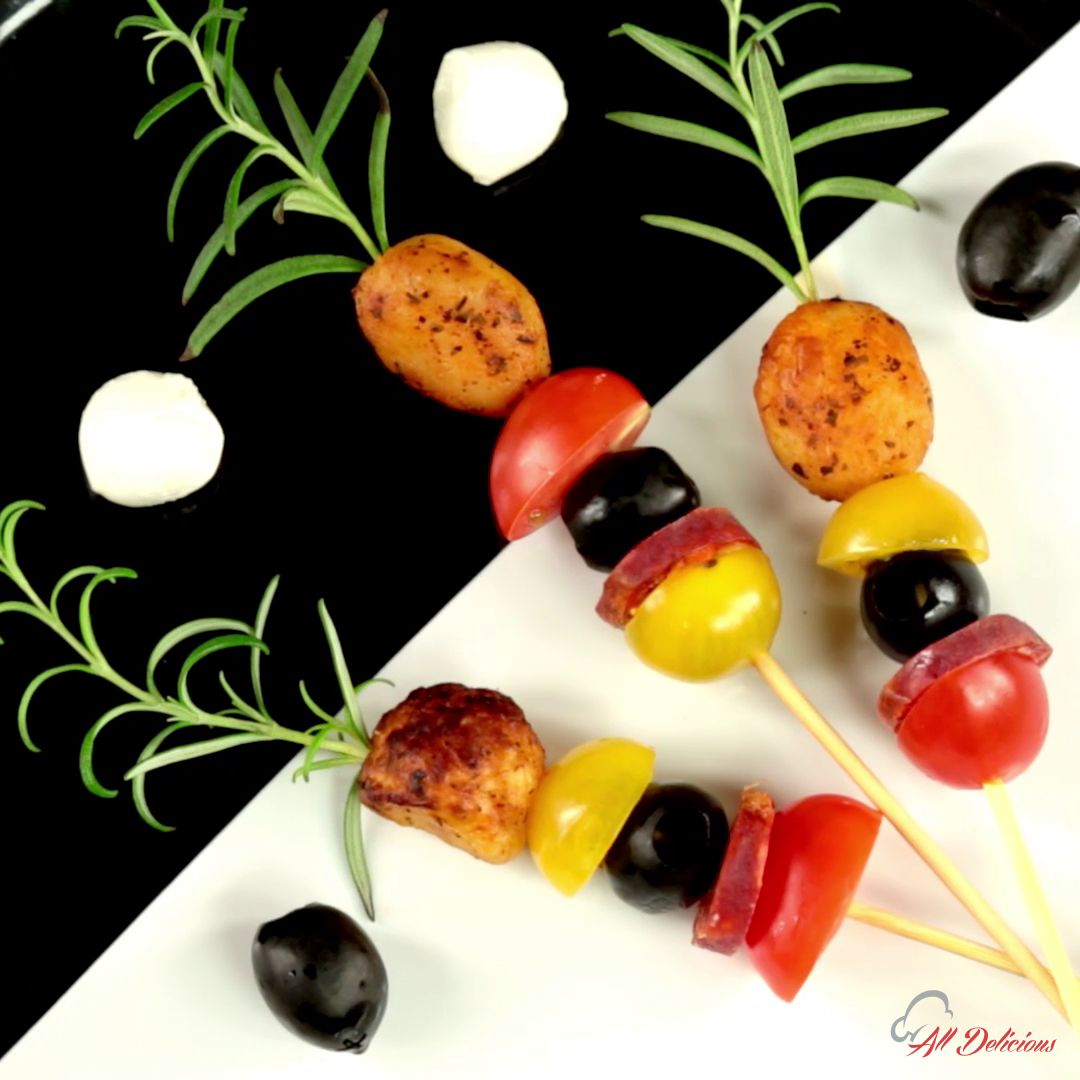 Chorizo and Baby Potato Skewers