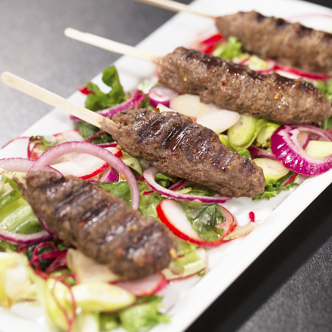 Beef Kebabs with Lettuce Salad