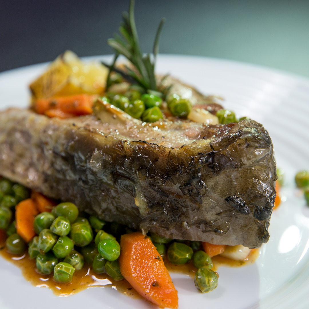 Roasted Carp Steak with Carrots and Peas