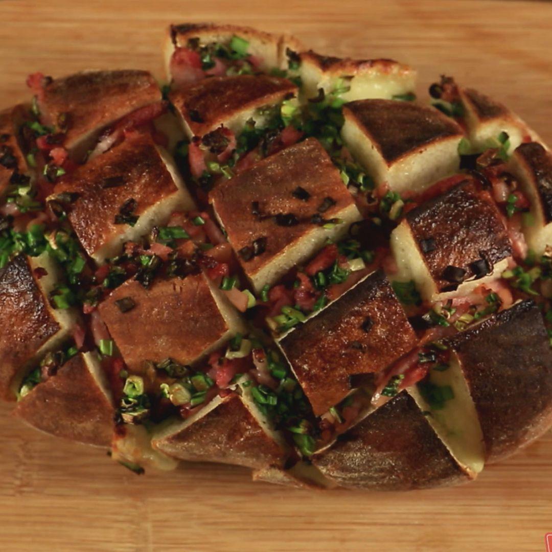 Bacon and Mozzarella Crispy Bread