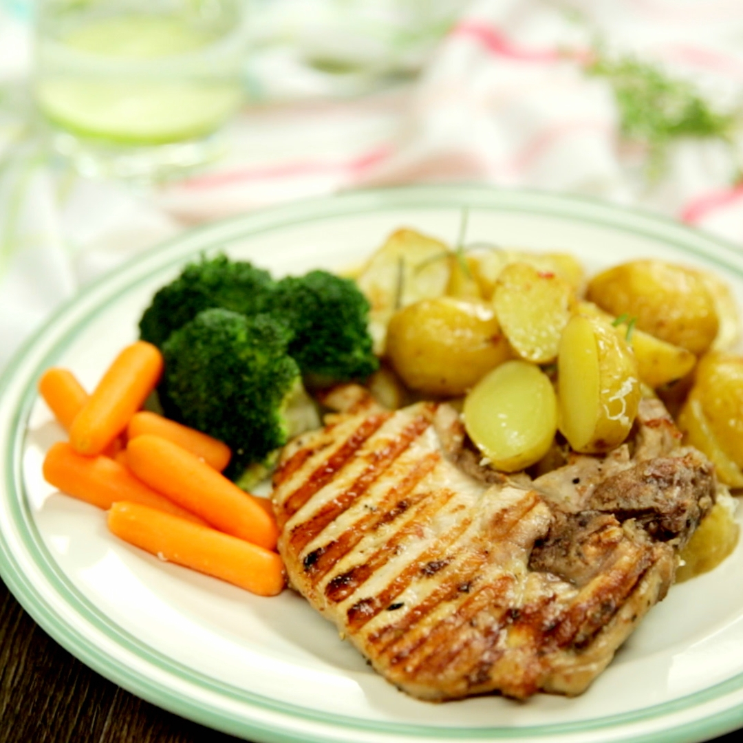 Grilled Pork Chops with Oven-Baked New Potatoes