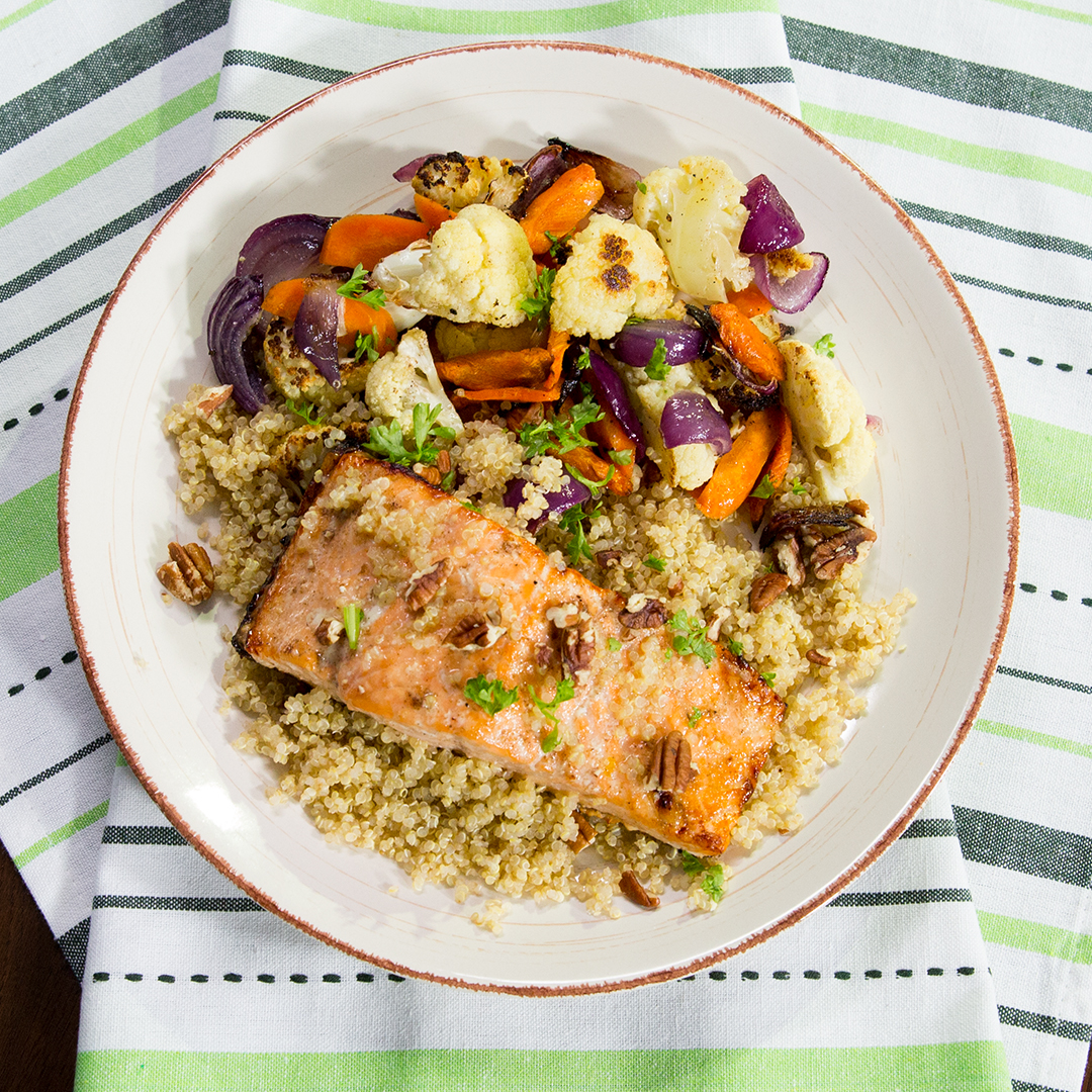 Roasted Salmon with Quinoa and Veggies