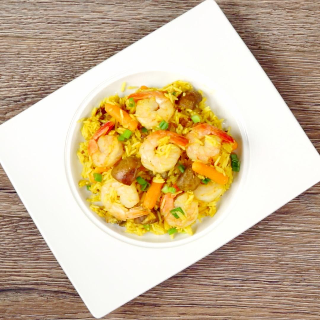 Fried Shrimp with Veggie Rice