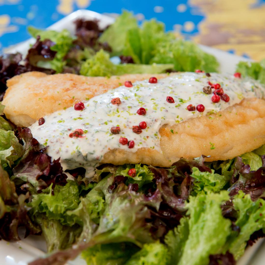 Fried Halibut on Lettuce Salad