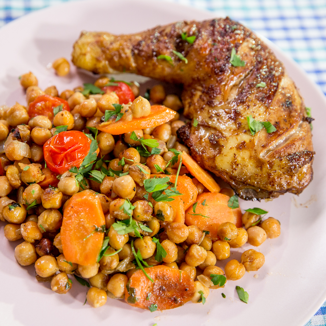 Roasted Chicken Thighs with Chickpeas
