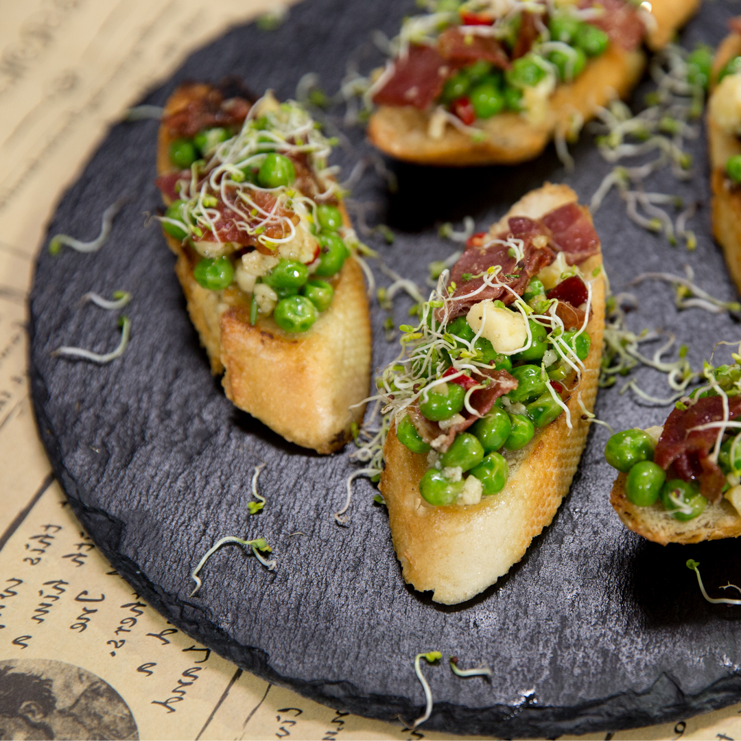 Prosciutto, Pea and Parmesan Crostini