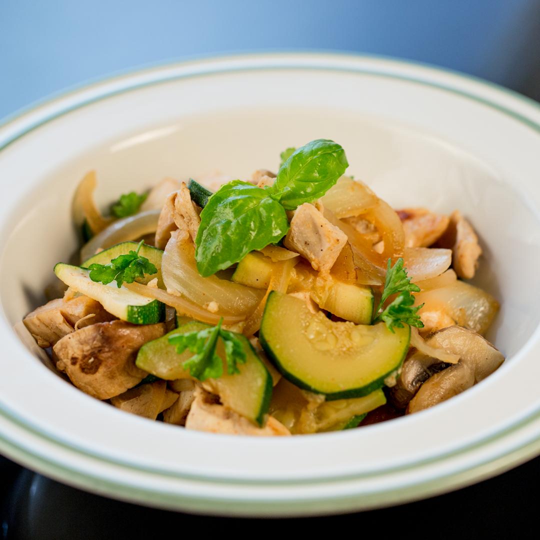 Chicken, Zucchini and Mushroom Stew