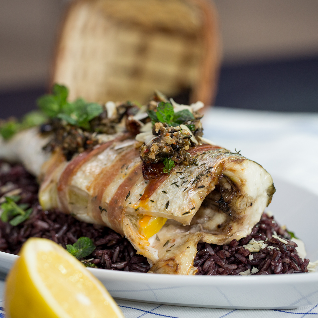 Pancetta-Wrapped Sea Bass with Rice