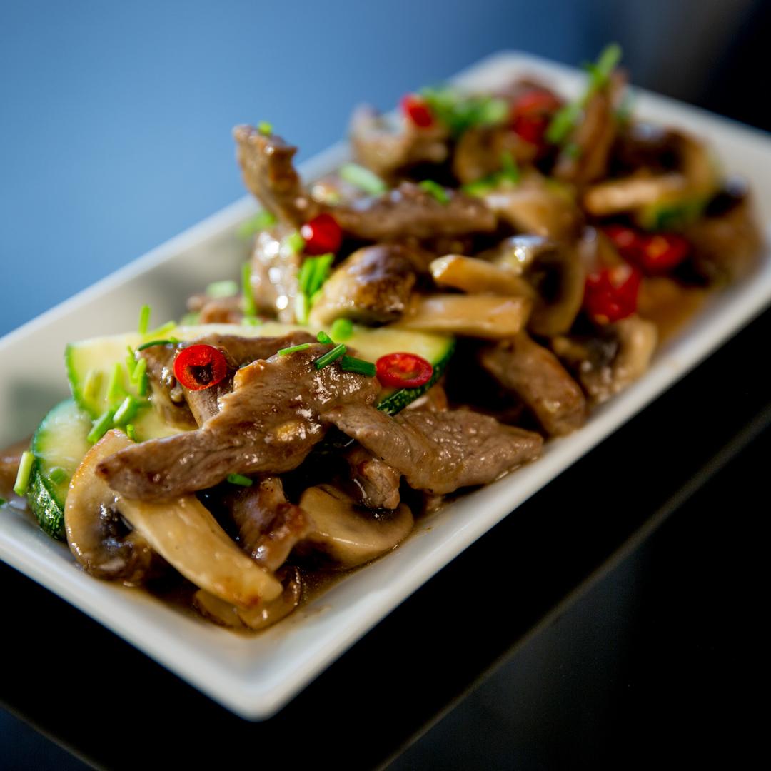 Beef, Zucchini and Mushroom Stir-Fry