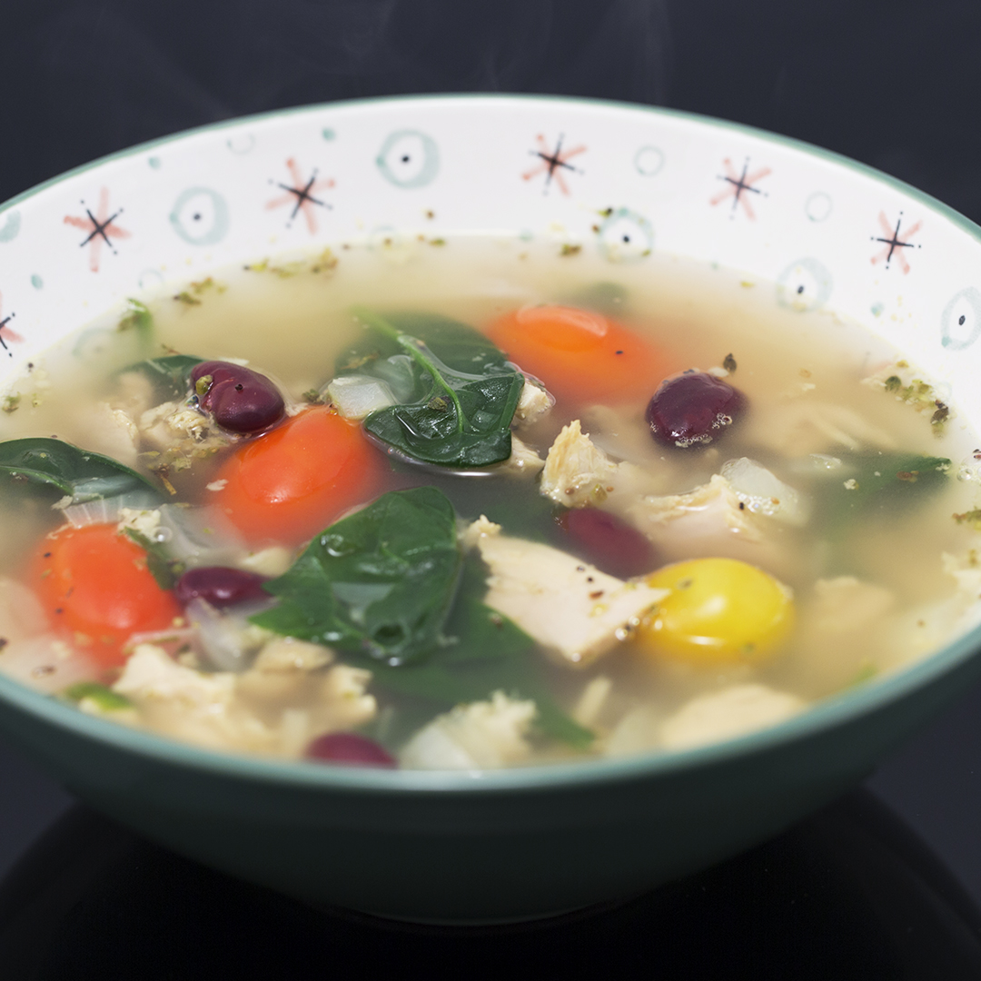Turkey, Spinach and Red Bean Soup