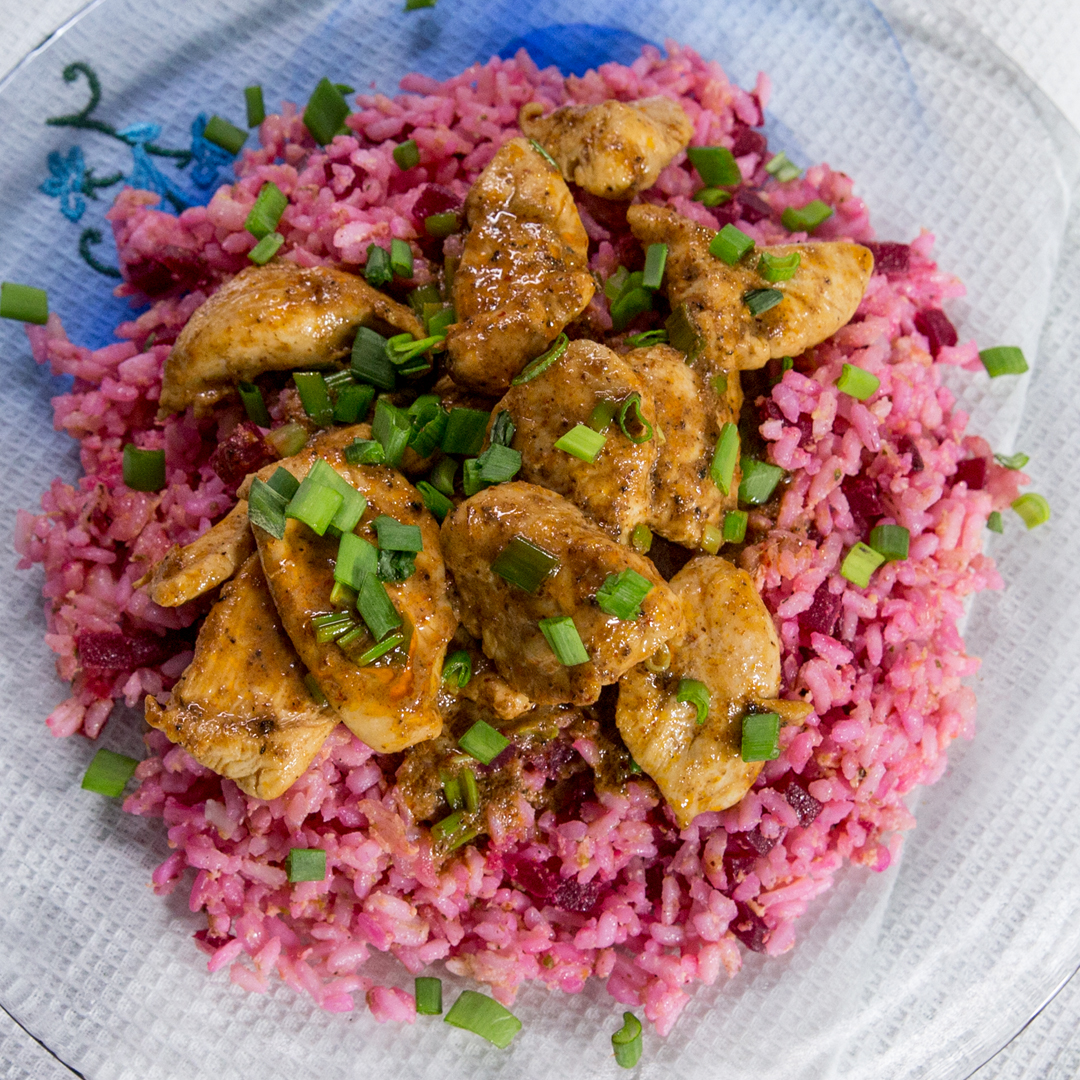 Chicken Curry and Beetroot Rice