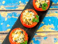 Quinoa and Cheese Filled Roasted Tomatoes