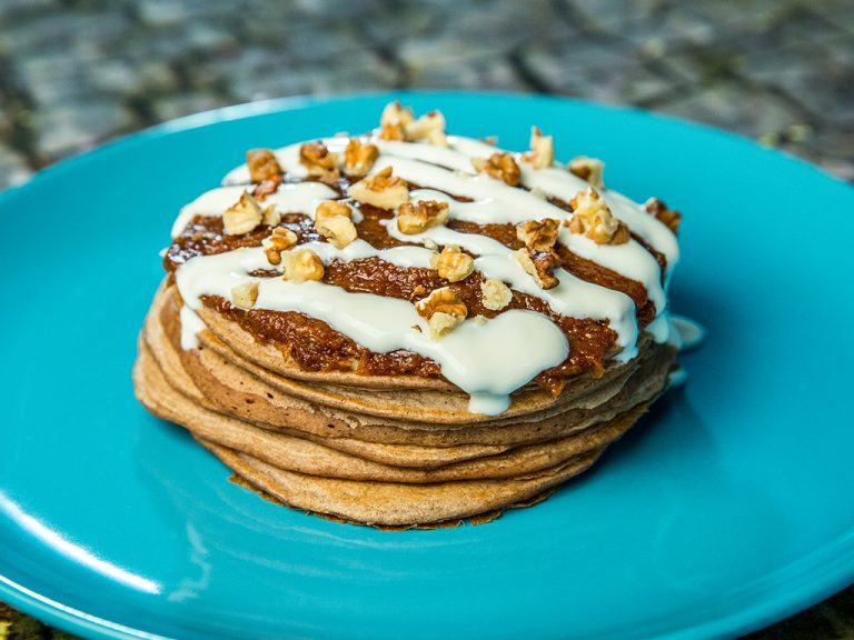 Cornflake Pancakes Topped with Squash Puree