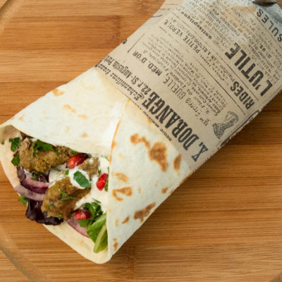 veggie and kebab tortilla
