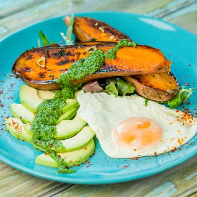 Fried Egg and Sweet Potato Breakfast