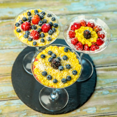 layered chia pudding with fruits and tofu