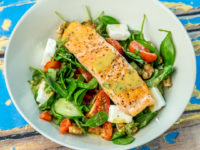 Salmon and Baby Spinach Salad with Mustard Dressing
