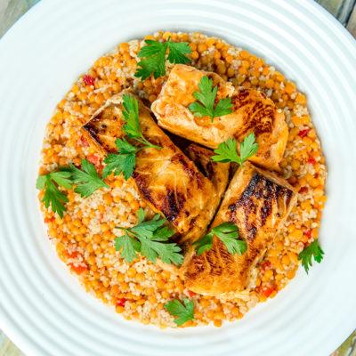 Salmon with lentil couscous