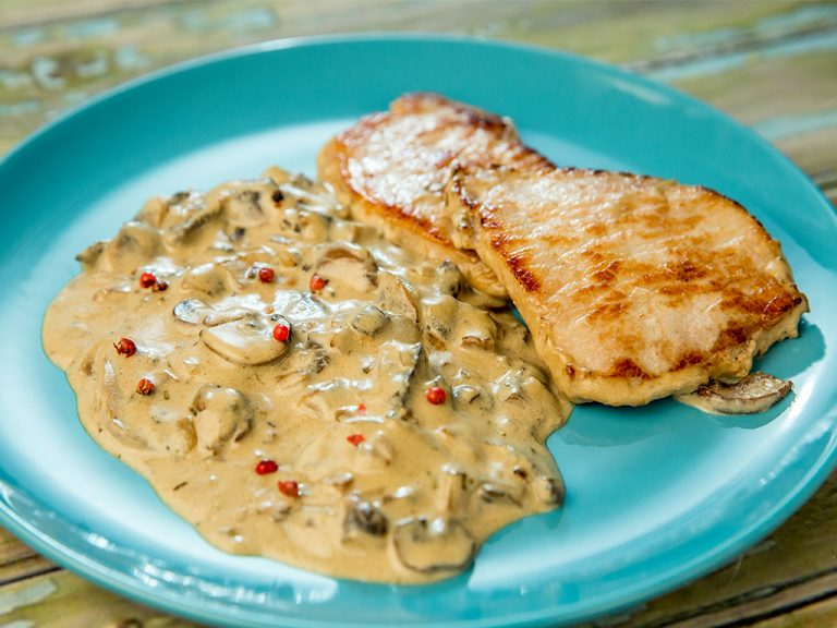 Pork Chops with Mushrooms in Heavy Cream Sauce